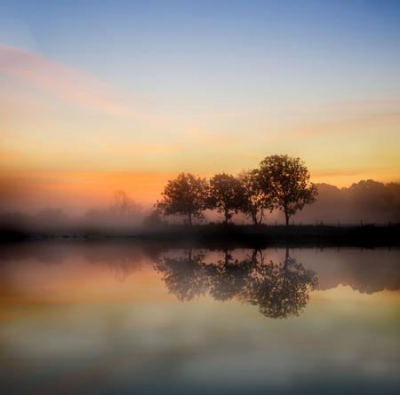 見事な foggyAutumn 日の出イギリスの田舎の風景画像 写真素材