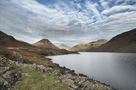 cumbria: Stunning sunset landscape image of Wast Water and mountains in Lkae District in Autumn in England Stock Photo