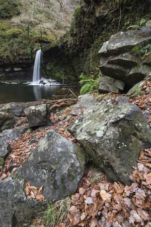 brecon beacons: Beautiful waterfall landscape image in forest during Autumn Fall