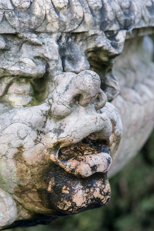 Beautiful close up portrait image of gargoyle on medieval fountain sculpture