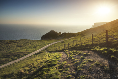 Sunset landscape image of Durdle Door on Jurassic Coast in England Banco de Imagens