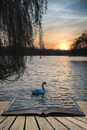 Beautiful Spring sunrise over calm lake in English countryside concept coming out of pages in open book