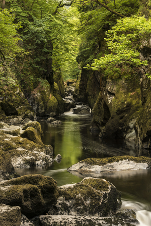 Beautiful ethereal landscape of deep sided gorge with rock walls and stream flowing through lush greenery