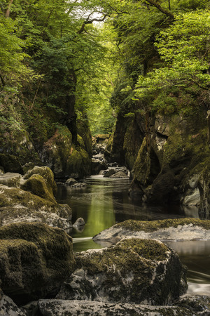 Beautiful landscape with river flowing through deep sided gorge with vibrant green foliage