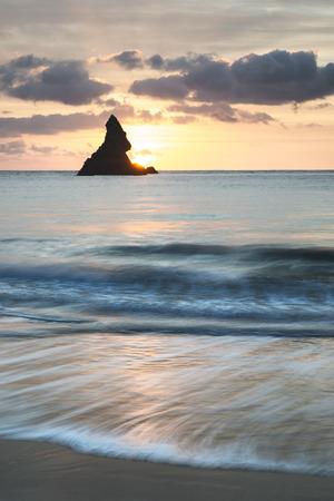 Stunning sunrise landsdcape of idyllic Broadhaven Bay beach on Pembrokeshire Coast in Wales