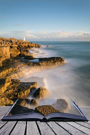 Creative book image of Beautiful sunset landscape image of Portland Bill rocks in Dorset England Stock Photo