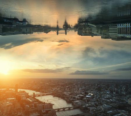 Sci-fi futuristic fantasy image of upside down city landscape