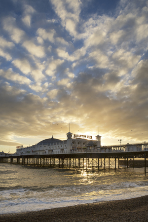 Winter sunset landscape of Brighton Pier on the south coast of England