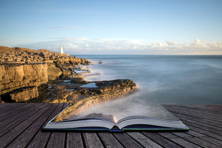 Creative book image of Beautiful sunset landscape image of Portland Bill rocks in Dorset England Stock Photo