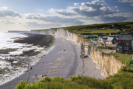 Landscape image of Birling Gap from Seven Sisters Stock Photo