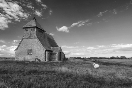 St Thomas Becket church landscape in Fairfield on the Romney Marshes.