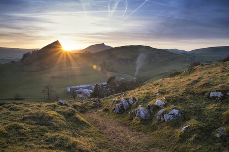 Landscape image of Parkhouse Hill and Chrome Hill in Peak District at sunset Stock Photo
