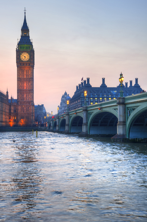 Big Ben and Westminster Bridge landscape during a Winter sunset Stock Photo