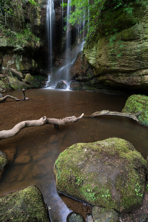 Stunning waterfall landscape at Roughting Linn in Northumberland National Park in England
