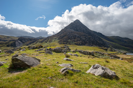 Beautiful landscape image of countryside around Llyn Ogwen in Snowdonia during early Autumn Stock Photo