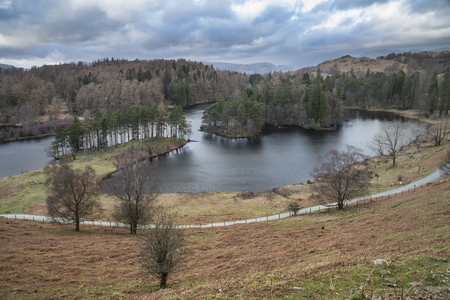 Beautiful evening landscape image of Tarn Hows in UK Lake District during Spring