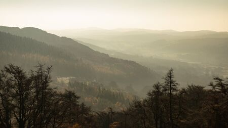 Landscape view from Gummers How in Lake District over beautiful Autumn Fall color forest with hazy unlight in late afternoon