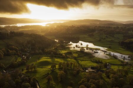 Stunning aerial drone landscape image of sunrise in Autumn Fall over English countryside