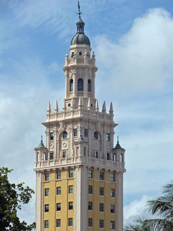 Tower of Church of La Caridad del Cobre on Miami. (Cubans Church) Stock Photo