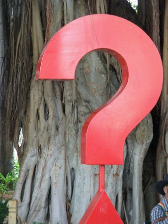 Question Mark simbol with a background tree Stock Photo
