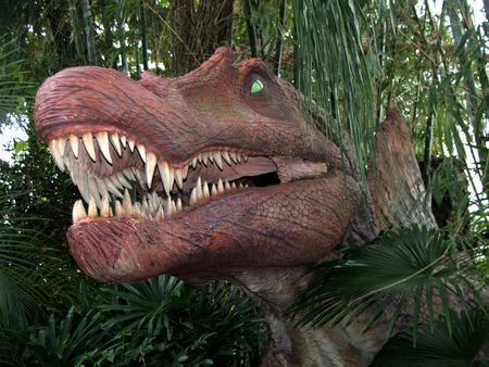 A dinosaur in a jungle