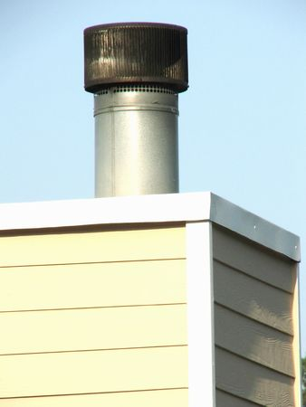 Close-up of the top of an old chimney  Stock Photo