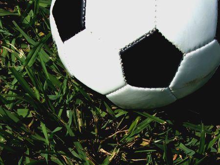 Close-up of a half soccer ballon