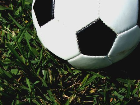 Close-up of a half soccer ballon