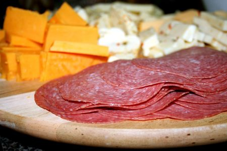 Close-up of a tray of cold cuts