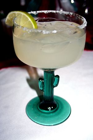 Margarita glass served with a lemon