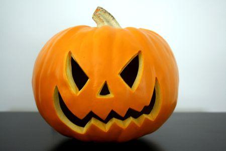 Scary Halloween pumpkin Face Stock Photo