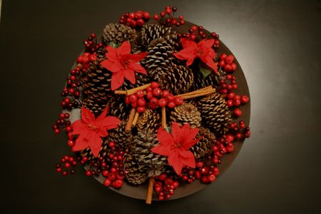 Christmas floral arrangements with pine cone Stock Photo - 3948255