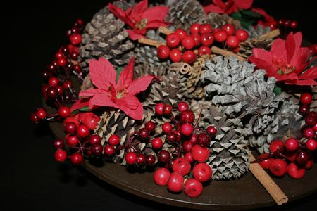 Christmas decor with pine cones and poinsettias