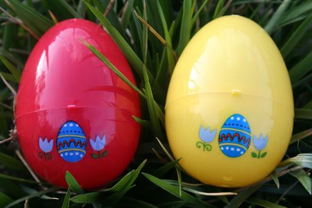 Two easter eggs over grass photo
