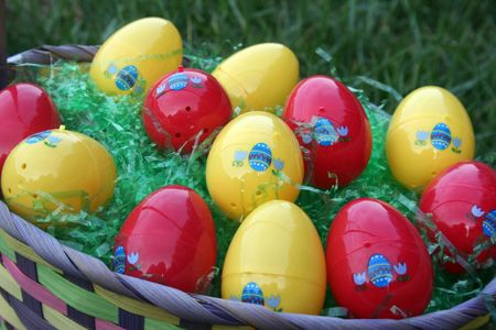 Close-up of easter eggs in a basket Stock Photo