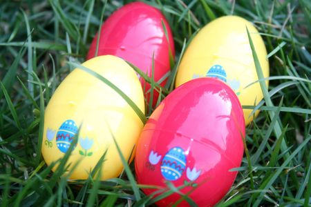 Easter eggs over grass