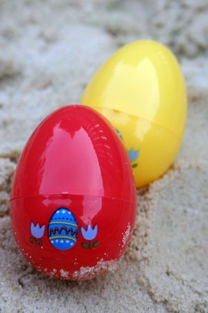 Easter eggs over sand photo