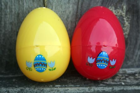 Close-up of easter eggs in rustic wood background