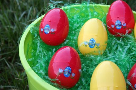 Close-up of green easter bucket Stock Photo