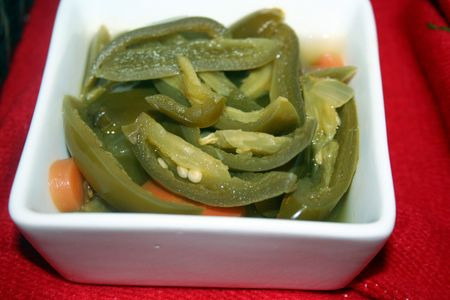 Sliced jalape�os in a tray