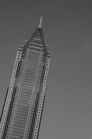 atlanta tourism: Top of a building in black and white