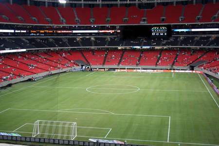 Soccer field stadium before the game Stock Photo