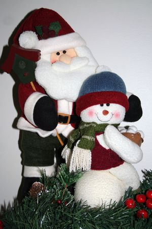 Santa and snowman decoration
