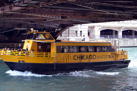 Water taxi in Chicago River in Chicago, Illinois