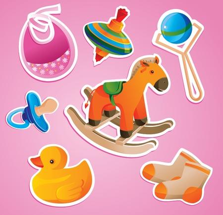 rammelaar: baby's speelgoed collectie - vector illustratie Stock Illustratie