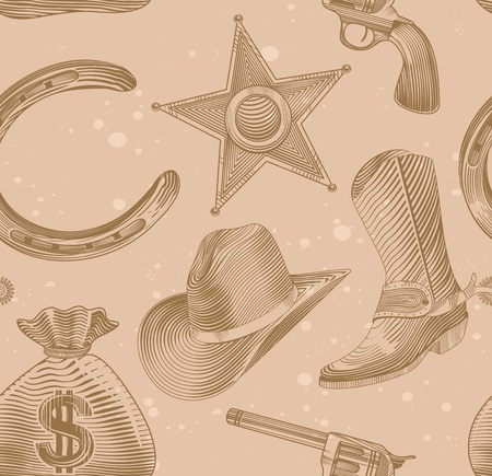 silver horseshoe: seamless cowboy pattern in engraving style - vector illustration