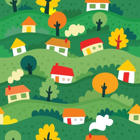 yellow house: seamless pattern with village and houses - vector illustration