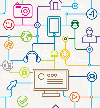 earbud: coloridos medios de comunicaci�n social y el modelo de Internet completa - ilustraci�n vectorial
