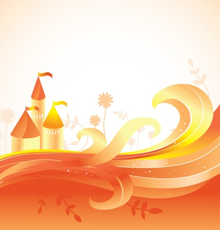 fairytale background: abstract fairy tale background with castle - vector illustation