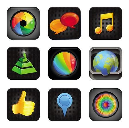 widget: set with application square icons Illustration